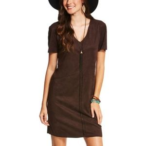 nwt | Ariat Afton Brown Faux Suede V Neck Dress M